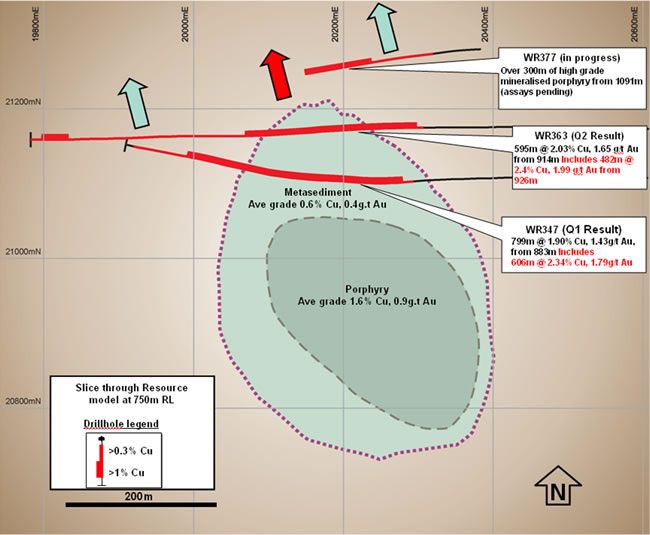 Plan view of the Golpu Resource at -750mRL showing the high grade porphyry and surrounding mineralised metasediment halo with recent significant drill traces and intercepts.