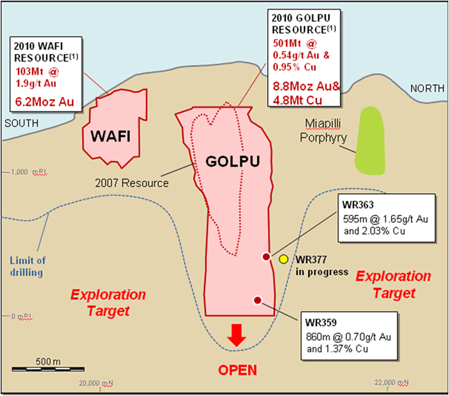 Schematic Long Section (looking west) showing the Wafi and Golpu Resource outlines and Q2 intercepts.